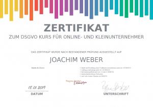 Datenschutz Zertifikat - Joachim Weber